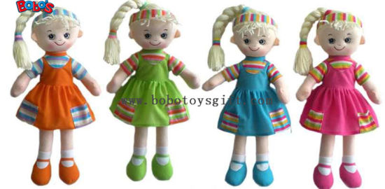 "11.8""Wholesale Plush Girl 3D Doll Toy as First Gift for Baby BOS-1107 pictures & photos"