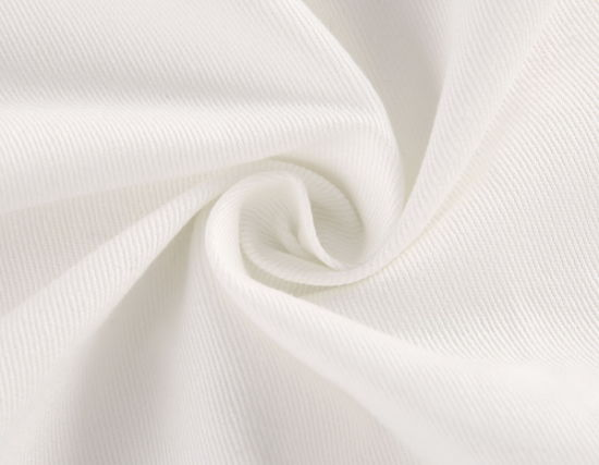 Off White Cream Polyester Cotton Twill Woven Fabric