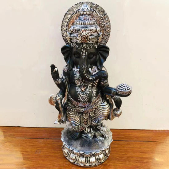 Custom Made Home Fengshui Decor Meditating Resin Crafts, India Standing Lord God Elephant Buddha Statue with Halo