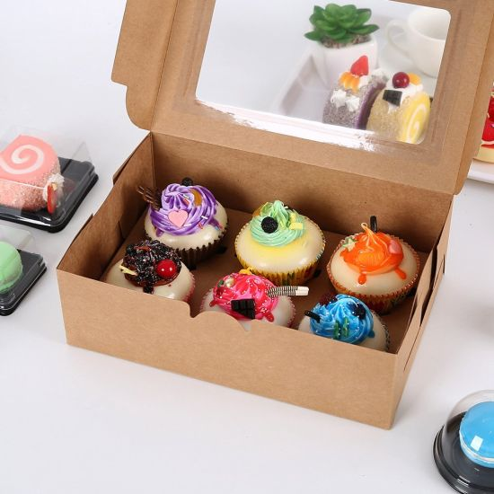 Bread Box Kraft Paper Cupcake Box Bakery Cake Container with Insert Display Window Dessert Storage Boxes