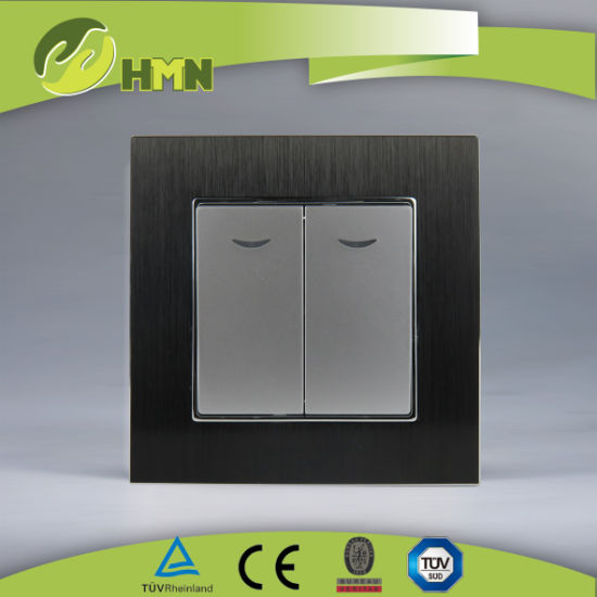 European standard TUV CE CB certified Aluminum double 2 way with LED BLACK switch