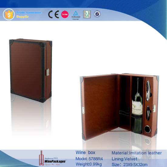 Luxury Brown Leather Wine Box Wine Display Box Case (5788)
