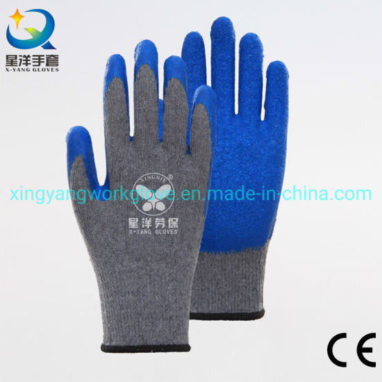 10g Grey Polycotton with Blue Latex Coated Safety Work Gloves with Ce Certificated
