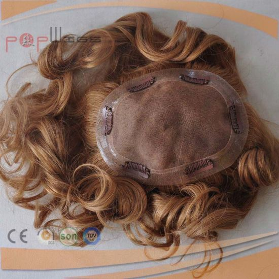 Full Lace Brazilian Hair PU Border Blond Piece (PPG-l-0562) pictures & photos