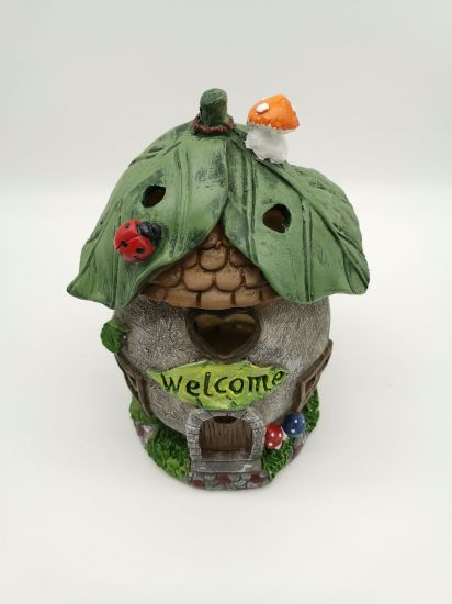 Solar Powered Hand Paint Resin Fairy House Solar Light Gardening Decoration pictures & photos