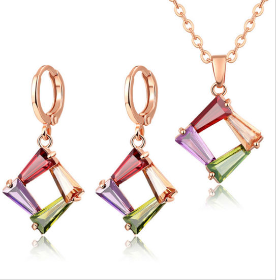 China 925 silver jewelry set colourful earring pendant necklace 925 silver jewelry set colourful earring pendant necklace wholesale simple square fashion jewelry aloadofball Image collections