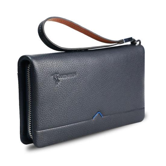 Men Genuine Cow Leather Clutch Bag Wristlet Travel Wallet
