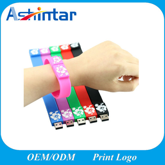 Promotion Gift 128g USB2.0/USB3.0 Flash Disk Rubber Bracelet USB Flash Drive