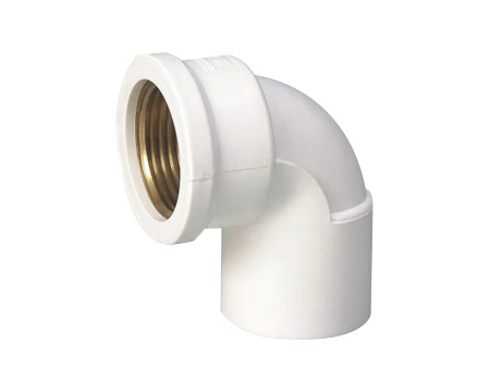 PVC Female Elbow (Copper Thread) DIN Standard PN10 Water Supply Pressure Pipe Fittings in White Color (H10)