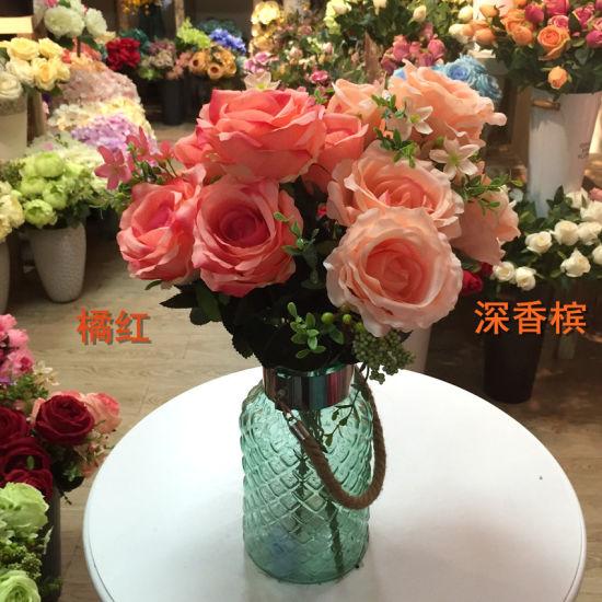 13 Head Artificial Silk Fake Rose Flowers Bride Wedding Bouquet for Party Home Decor
