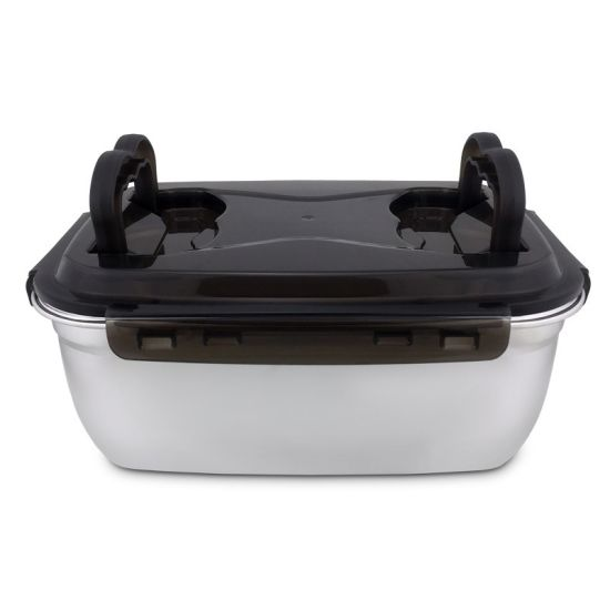 China Easga5500ml Suqre 304 Stainless Steel Lunch Box With Silicone