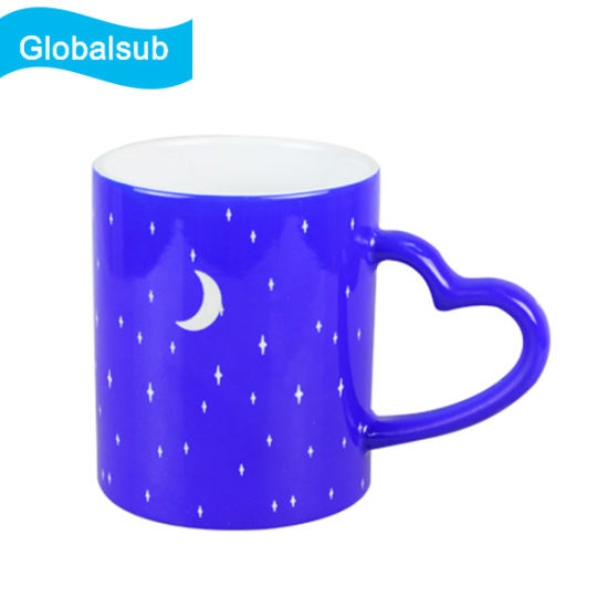11oz Glossy Color Changing Engraving Sublimation Mug Blue/Black pictures & photos