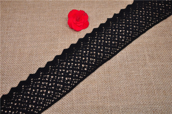 High Quality 100% Cotton Black and White Lace for Garment Accessories