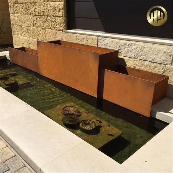 Assembly Corten Steel Rusty Customized Outdoor Planter