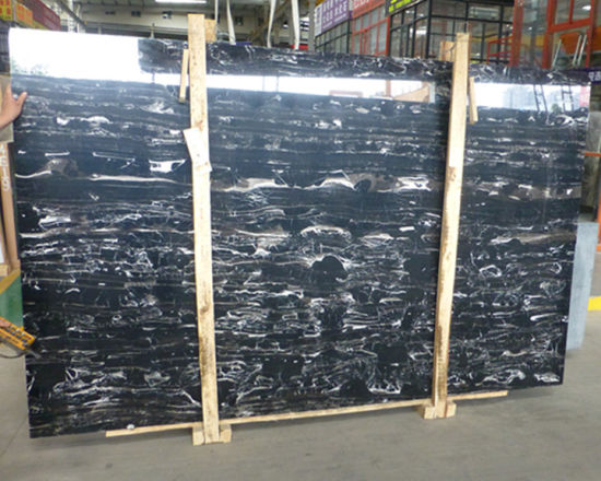 China Cheap Natural Stone Black Silver Dragon Polished Marble  Tile/for/Floor/Bathroom/Countertops