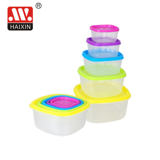 Plastic Clear Food Container with Colorful Lids