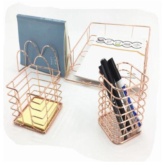 Hot Sale Chromed Plate School Storage Organizer Stationery Office Desk Set