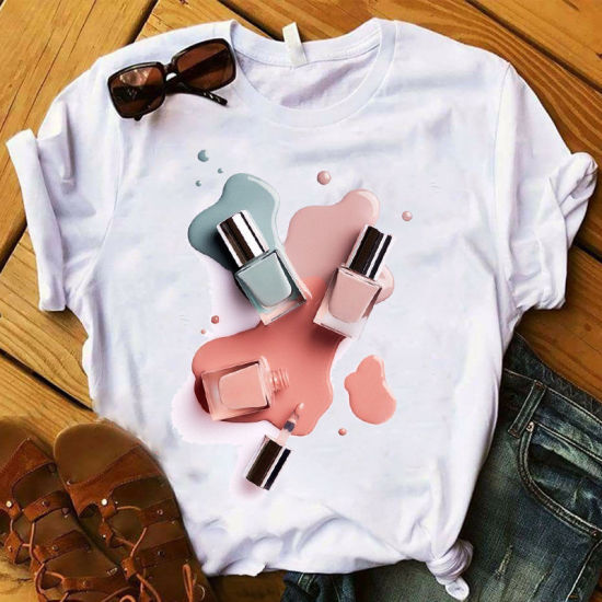 Xqm New Interesting Nail Polish Print Casual Style Comfortable Simple Women&Prime Shirts