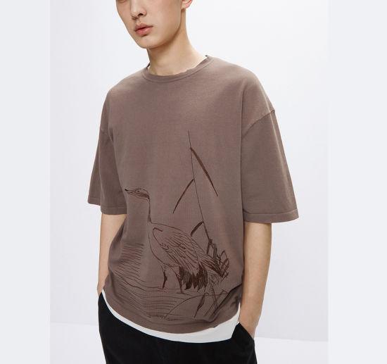 Wholesale High Quality Custom T-Shirt Fashion Embroidered Mens T-Shirt 100%Cotton Simple T-Shirts