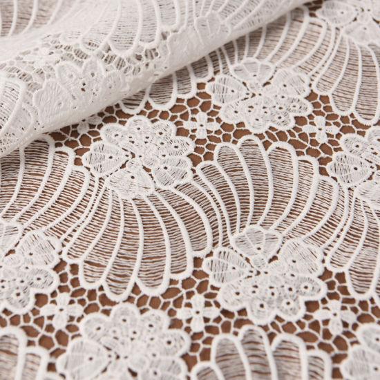 300d White Milk Silk Chemical Flower Guipure Lace Fabric Wholesale