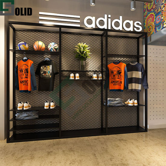 High End Boutique Garment Store Wall Mounted Racks Fashion Simple Black Metal Stainless Display Rack Sports Display Sports Shoes Shop Interior Design Display