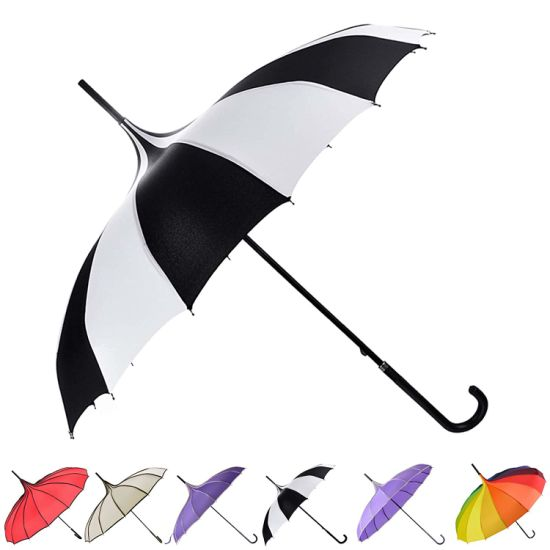 Pagoda Umbrella Parasol Umbrella Sun Umbrella UV Protection Umbrella Retro with Hook Handle (White & Black)