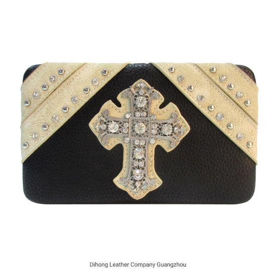 Cross Turquoise Rhinestone Western West Wallet Purse Clutch Bag for Women Ladies