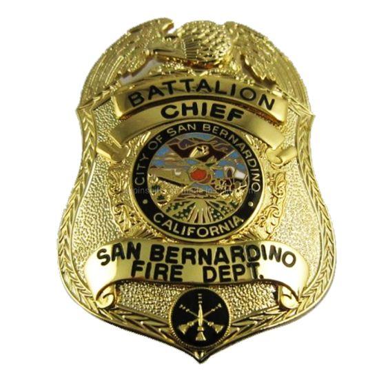 Promotional Gift Custom Enamel Metal Lapel Pin Badge Gold Military Badge Pentagram Shape Craft Police Badge (01)