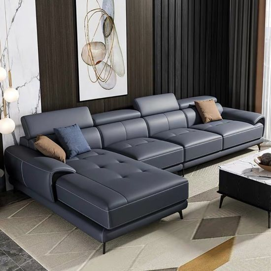 European Modern Home Furniture Navy Leather Sectional Corner Sofa with Chaise