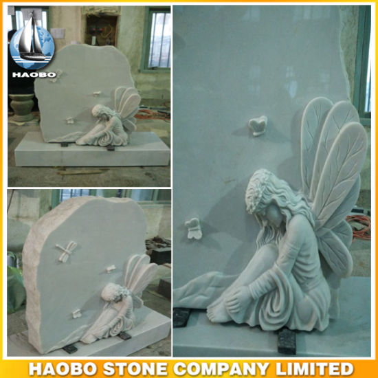 Haobo Stone White Marble Tombstone Child Headstones for Cemetery