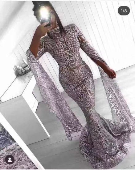 Lace Fabric with Sequins for Elegant Evening and Party Dress
