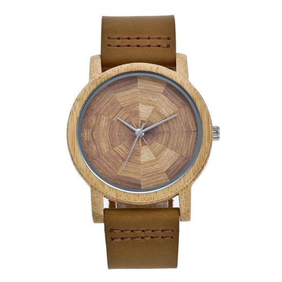 Wholesale New Men's Watch Bamboo Wood Leather Strap Watch Unique Design Lovers Quartz Fashion Watch for Men and Women
