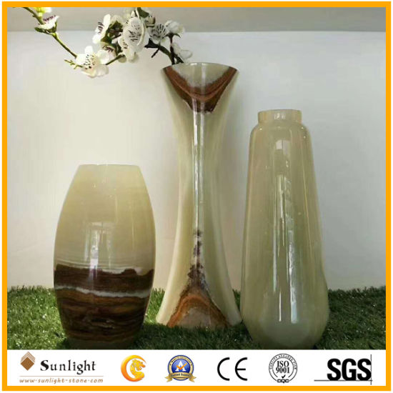 China Polished Stone Marble Natural Onyx Handcrafts Flower Vase