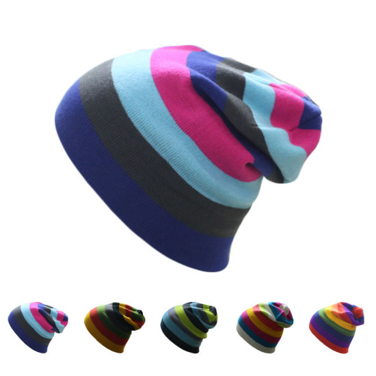 a727061ae2634 China Wholesale Custom Knitted Toques Colorful Striped Winter Beanie ...