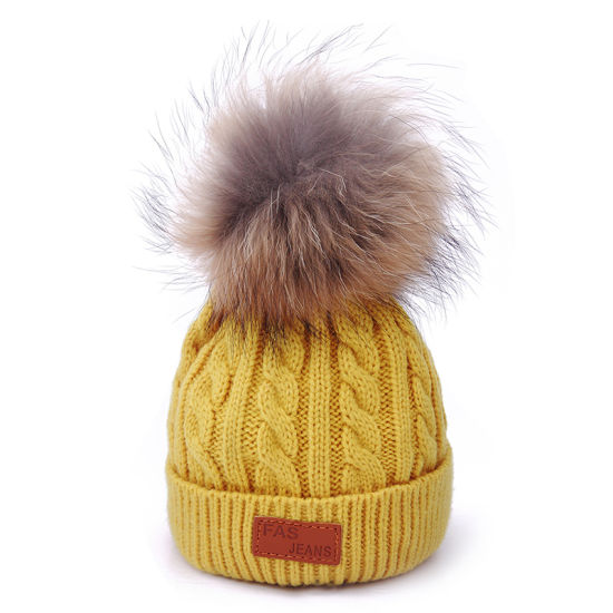 f5f69cf7 China Winter Fashion Tripe Knitting Fox Fur POM POM Beanie - China ...