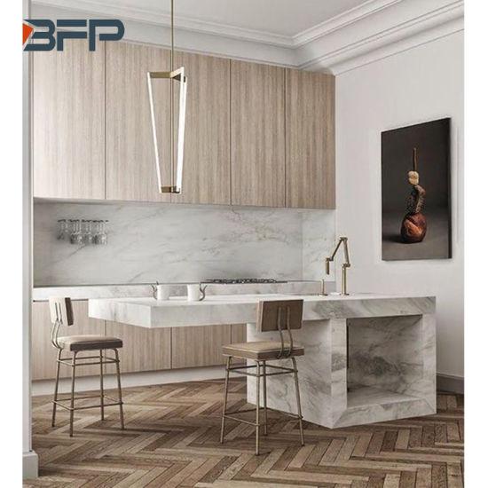 Modern High End Kitchen Cabinets Wood Grain Hpl Laminate Bmk 91