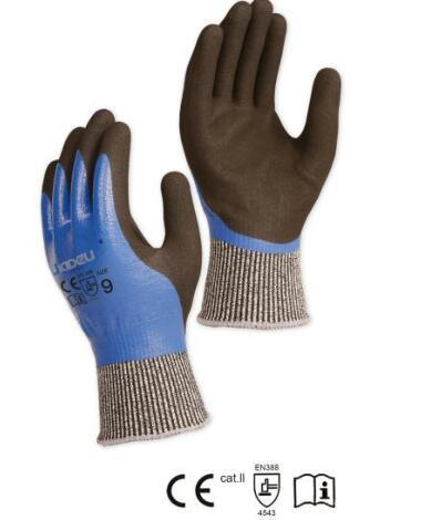 Hppe Shell Cut Resistant Safety Glove with Sandy Nitrile Coating on Palm and Thumb