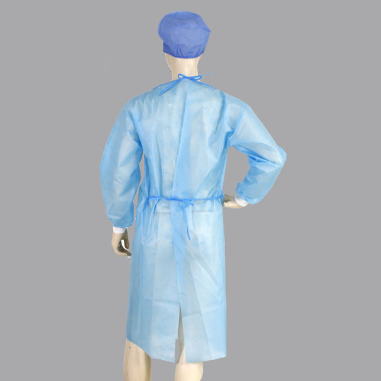 Hospital Surgical Protective SMS Blue Non-Woven Disposable Isolation Gown Manufacture