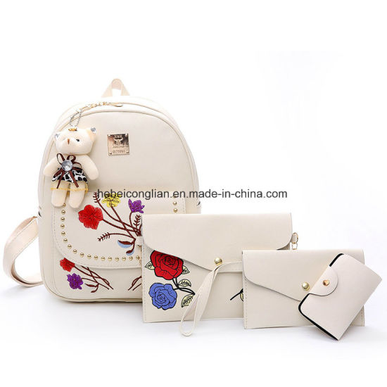 China Handbags Supplier Flower Embroidery Double-Shoulder Women Bags School  Backpack 09eb1f63f5