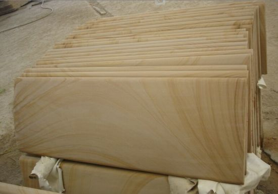 China Yellow Woodvein Honed Sandstone Tile For Flooring China