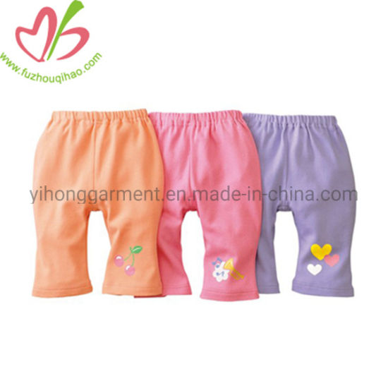Lovely Cotton Wide Girls Sweatpants with Custom Applique