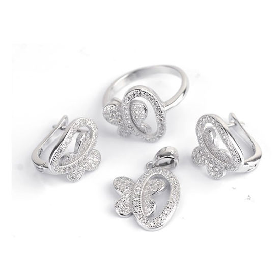 Micro Pave Setting Jewelry Set 925 Sterling Silver pictures & photos