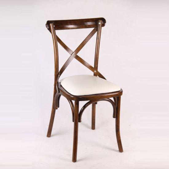 2017 Popular Wedding Solid Wood Rustic X Cross Back Hotel Chair