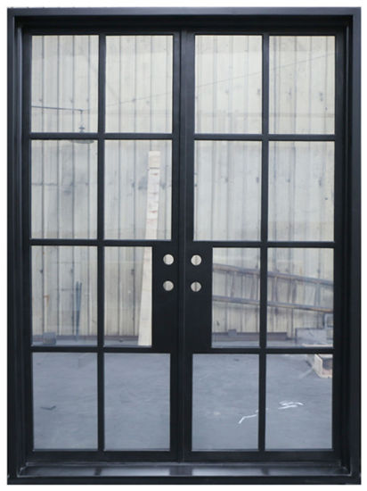 China Simple Less Material Modern Design Steel Fench Door With
