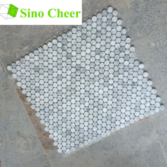 China White Carrara Mosaic Penny Round For Flooring Tile China