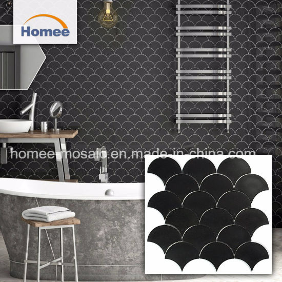 China Marble Tiles Fish Scale Mosaic Floor Fan Shaped