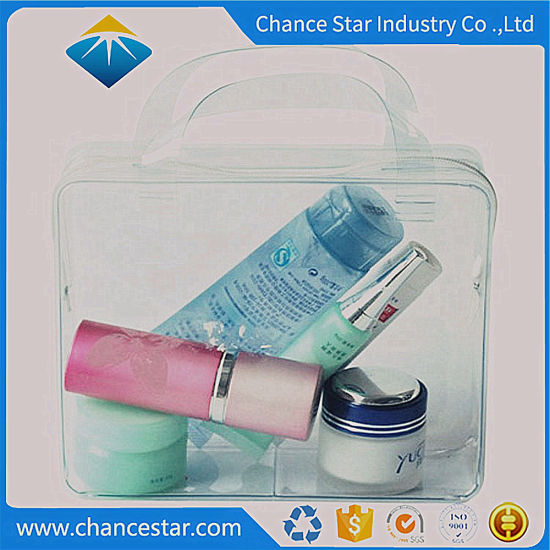 Custom Cosmetics Package Clear PVC Plastic Handle Bag with Zipper