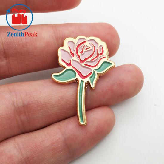 China Factory Price Metal Rose Gold Plating Soft Enamel Rose Flower