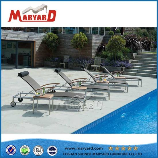 Folding Swimming Pool Lounge Chair with Neck Cushion