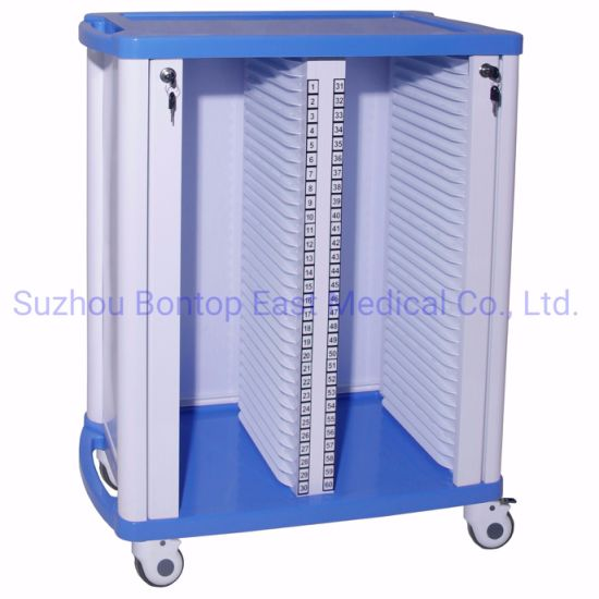 OEM Double-Row 60 Layers ABS Hospital Medical Case History Record Trolley and Cart
